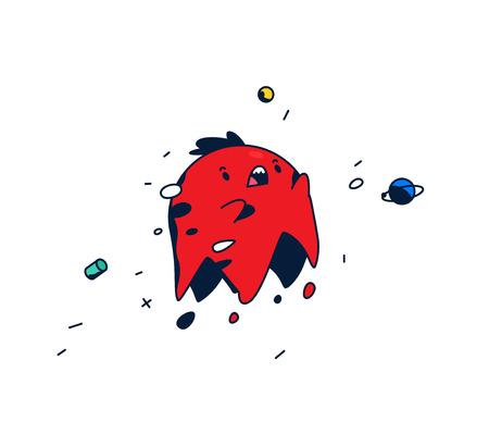 Incredibile, personaggio dei cartoni animati. Testa rossa che levita nello spazio. Simpatico mostro. Vettore. Creatura di fantasia divertente. Il simbolo per il logo. Etichetta. Mascotte per un'azienda o uno studio di gioco. Logo