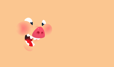 Cartoon face of a pig. Vector. Background for text and design. Emotion, a smile of a pork character. Illustration of Pork for menu, restaurant and packing. Stew. Logo, a talisman for the company.