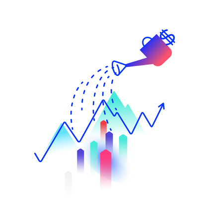 Illustration on the topic of financial income. Vector. Profit and investment. Watering can water the profit chart. Image is isolated on a white background. Logo for the company. Growth of money. Ilustração
