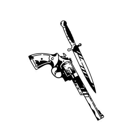 Illustration of a pistol and a knife. Vector. Cold and firearms. Hipster tattoo. The style of the old American school. Items isolated on white background. Outline drawing. Retro, vintage. Çizim