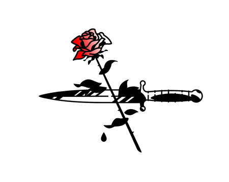 Tattoo of a dagger and roses. Vector. Vintage tattoo in the style of the American old school. Image is isolated on white background. Contour drawing. Fashionable tattoo for the mafia. Love and crime. Illustration