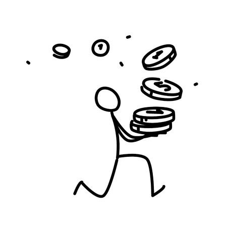 Illustration of a little man running with coins. Vector. Illustration for animation, re-presentation or website. Simple contour man. Businessman runs to the bank. The thief runs with the money. Unexpected arrived. Illustration