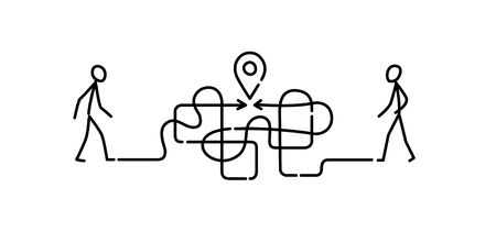Illustration of a man walking through a maze to a meeting point. Vector. The maze is like a brain. Metaphor. Linear style. Illustration for website or presentation. Navigation. Search for the best path and exit.