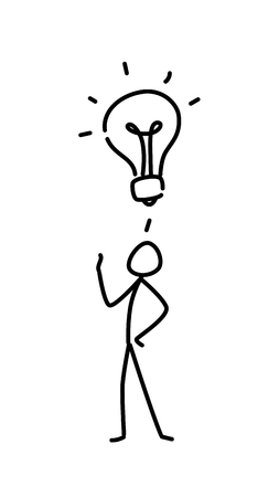 Illustration of a little man and a light bulb. Vector. Got an idea. Metaphor. Linear style. Illustration for website or presentation. Creative and resourcefulness. Illustration