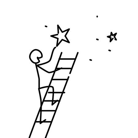 La ilustración de un hombre tiene una estrella. Vector. Los sueños se hacen realidad. Metáfora. Estilo lineal. Ilustración para sitio web o presentación. Conviértete en una estrella.