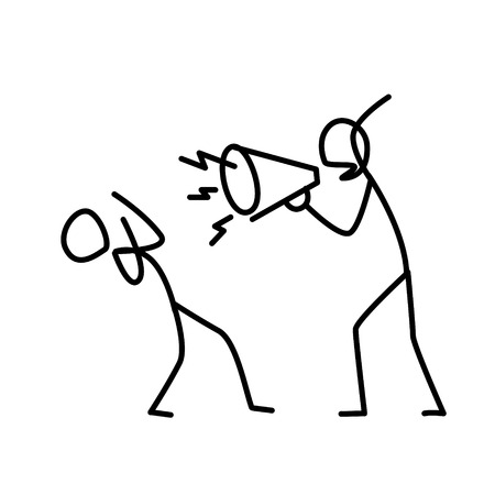 Illustration of an angry boss screaming at an employee. Vector. A disgruntled manager yells at an employee. Metaphor. Linear style. Illustration for website or presentation. Conflict at work.