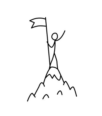 Illustrazione di un vincitore in cima a una montagna con una bandiera. Vettore. Conquista la montagna. Metafora. Stile lineare. Illustrazione per sito Web o poster. Conquista dell'Everest.
