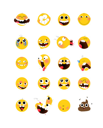 Set of yellow emotional heads, faces. Vector. Flat illustration of stylized human face. Round signs. Emoji, yellow sad, funny faces. Characters Internet memes. Illustration