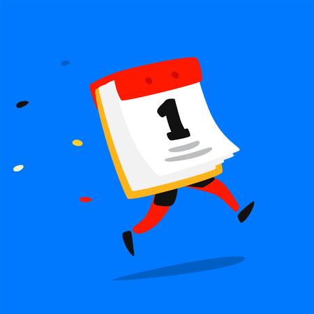 Calendario in esecuzione icona. Vettore. Logo. Divertente illustrazione di un calendario a strappo di carta. Distintivo del fumetto, emblema per l'azienda. Adesivo e mascotte per il sito del negozio. Modalità di funzionamento.