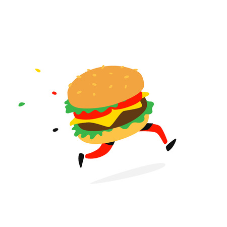 Icon running hamburger. Vector. Icon for fast food and food delivery. Funny illustration of a sandwich with a cutlet. Cartoon badge, emblem for the company. Sticker and mascot for the store site.