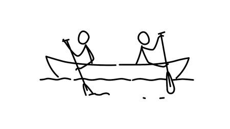 Ilustración de dos hombres en un barco. Vector. Cada equipo a su manera. Conflicto de intereses. Metáfora. Imagen de contorno. Carrera líder. Jefes de ambiciones.