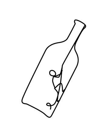 Illustration of a man in a bottle. Vector. The little man is trying to get out of the bottle. The fight against alcohol. Anonymous alcoholics club. Heavy burden. New life. Metaphor. Contour picture. A