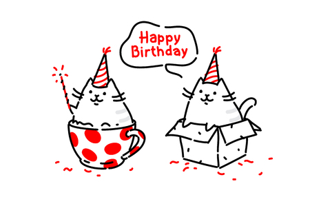 Cartoon funny cats. Kitty wishes happy birthday sitting in a box and in a cup. Vector. Illustrations isolated on white background. Characters for the site and print cards. Present. Two pussies. Foto de archivo - 113362472