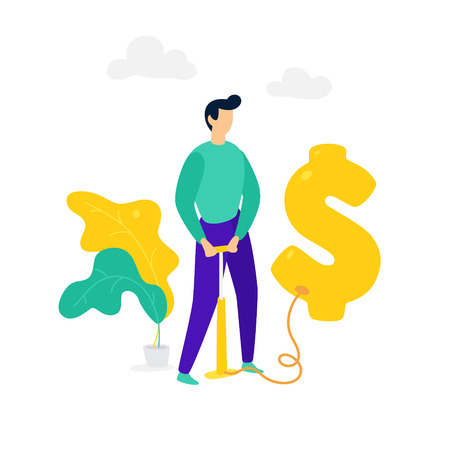 A man inflates a dollar balloon with a pump. Vector. Money mark Bubble in the foreign exchange market. Metaphor. The rise of the American dollar. The bubble in the investment market.