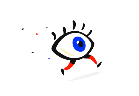 Illustration of a running eye. Vector. Cartoon flat style. Character for company and icon. Brand Eye Clinic. The whole thing icon. All-seeing eye.