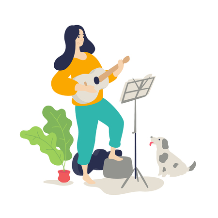 Illustration of a girl playing an acoustic guitar. Vector. Flat cartoon style. Music lessons. The dog listens to the game of the hostess on a musical instrument. Education and study at home. Hobby. Ilustração