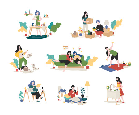 A collection of young men and women spends the weekend at home - gathering things, playing the guitar, reading books, surfing the Internet, doing the dishes, preparing. Color illustrations in flat cartoon style. Vector.