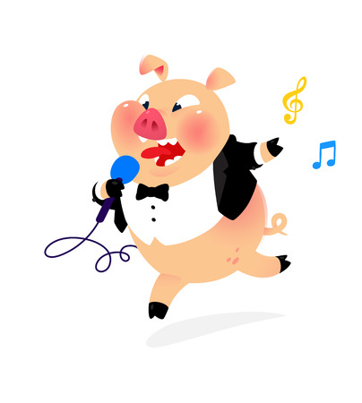 Illustration of a pig with a microphone and in a tail coat. Vector. Artist of popular songs in the costume of a pig. Mascot for music club, cafe, karaoke. Bright cartoon image. Character to pack and site.