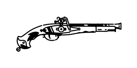 Illustration of a musket pistol. Vector. Black and white contour graphic drawing. Tattoo. Decorative vintage element for design.