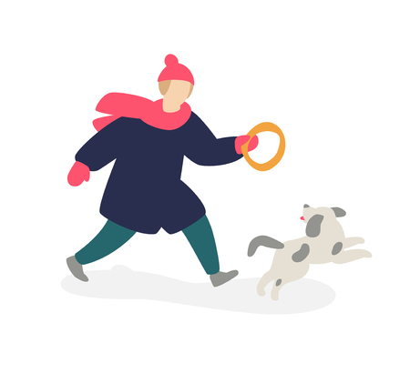 Illustration of a girl playing with a dog. Vector. Girl teenager in coat runs along with a gray dog. Two friends. Flat cartoon style. Rest with the best friend in nature. Winter walks. Illusztráció