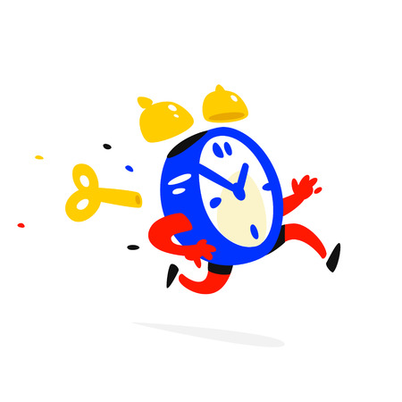 Cartoon character running alarm clock. Vector illustration. Time is up. The clock is running. Image is isolated on white background. Flat illustration for banner, print and website. Mascot company.