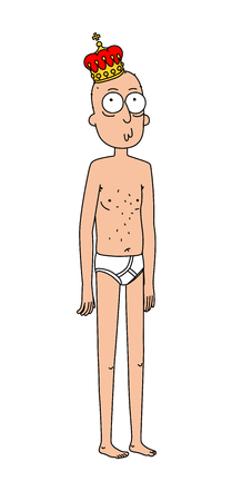 Illustration of a king in the crown and shorts. Vector. Flat style. Nude young cartoon man.