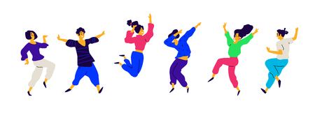 Dancing and fun people, positive emotions. Vector. Illustrations of males and females. Flat style. A group of happy and joyful teenagers. Shapes are isolated on a white background. Funny poses.