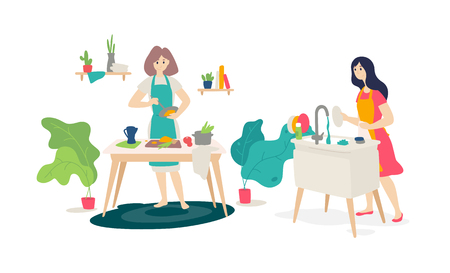 Illustration of girls in the kitchen. Vector. Flat style. Wife prepares at home. Online cooking courses. Housewife washes the dishes. Women's homework.