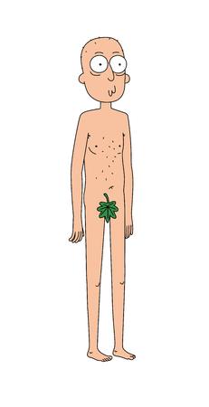 Illustration de l'homme avec une feuille de vigne. Vecteurs