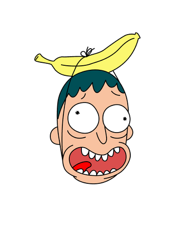 Head with banana. Vector. Flat style. Cheerful crazy character for a party.