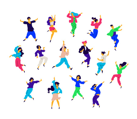 A group of dancing people in different poses and emotions. Vector. Illustrations of men and women. Flat style. A group of happy teenagers are dancing and having fun. Figure for packaging. Dance studio.