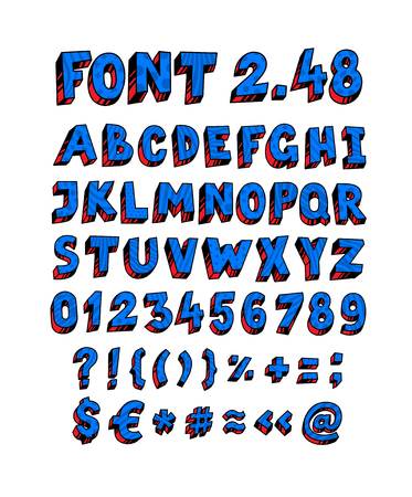 Blue English font. Vector. Linear, contour letters. Volumetric figures, symbols. Font for ingenious design projects. Full set of letters and numbers. Latin color letters. All signs are separate. Alphabet.