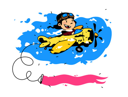 Illustration of a flying boy pilot on a plane. Vector. Postcard, congratulations, flyer layout. Cartoon style. The young pilot opens new horizons. Picture for childrens store goods.