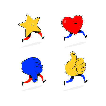 Icons stars, hearts, likes and dislike. Vector. Flat illustrations. Symbols of social networks. Cartoon style. Images of communications. Symbol, the mascot of the company.