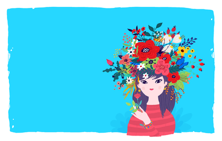Illustration of a spring girl in a wreath of flowers on a blue background. Vector. Illustration for banner, greeting card. Picture for March 8 and Mothers Day. Cartoon style. The image of summer and spring.