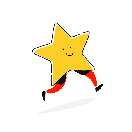 Illustration of a star character. Vector. Flat icon. Add to favorites. Cartoon style. The image of the celebrity. Symbol, the mascot of the company.