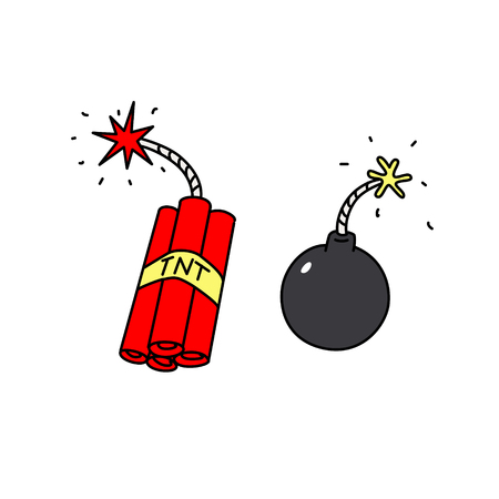 Explosives icons. Vector. Weapons of terrorists. Cartoon style. Bomb and dynamite.