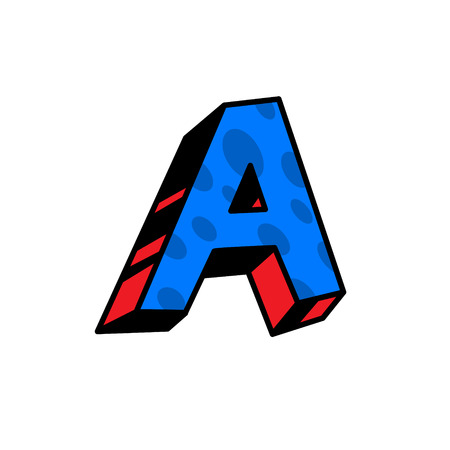 Logo, letter A. Vector. Linear, outline icon. Volumetric mark, 3D. Color capital letter. Illustration with pattern. Symbol on white background. Cartoon style. The image of the circus.