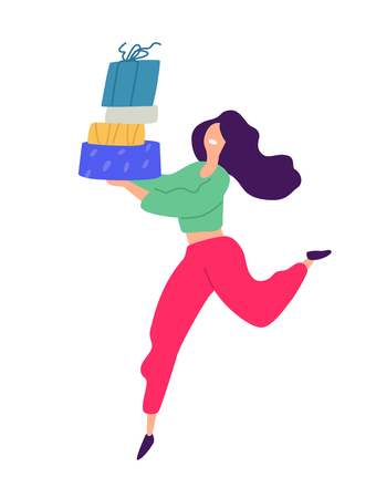 Illustration of a girl with shopping. Vector. Positive flat illustration in cartoon style. Discounts and sales. Shopaholic shopping. Online sales. Purchaser of goods.