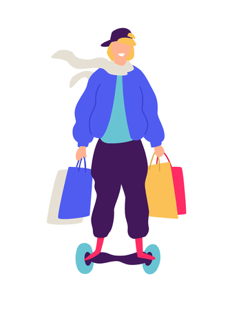 Illustration of a guy on a scooter with purchases. Vector. Positive flat illustration in cartoon style. Discounts and sales. Happy shopaholic shopping. An image of a successful hipster.
