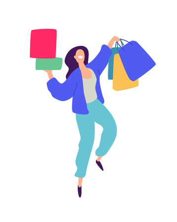 Illustration of a girl with shopping. Vector. Positive flat illustration in cartoon style. Discounts and sales. Shopaholic shopping. Online sales. Purchaser of goods. Vektorové ilustrace