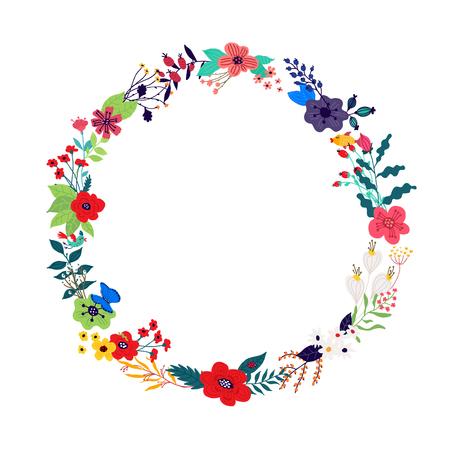 Illustrazione di una corona di fiori e boccioli su sfondo bianco. Vettore. Immagine per banner, biglietto di auguri. 8 marzo, festa della donna. Stile cartone animato. L'immagine dell'estate e della primavera. Cornice rotonda. Invito.