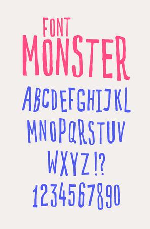 Fuente amigable alegre. Vector. Las letras están todas por separado. Conjunto de letras del alfabeto inglés. Caracteres latinos. Estilo cómic hipster. Fuente para cafeterías, tiendas y promociones.