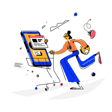 Girl makes a purchase, illustration. Vector. The buyer on the phone carries a new phone. Purchaser of goods. Online order. Delivery of goods. Chat, chat. Flat cartoon style. SEO.