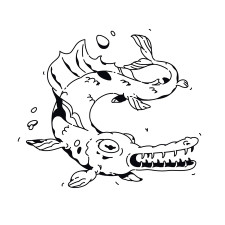Illustration of a cartoon fish. Vector. Linear drawing for a tattoo. Corporate mascot for the company. Illustration for t-shirt. A terrible monster fish, twists and grins, toothy maw.