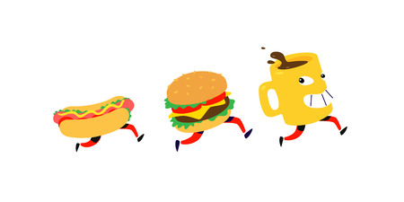 Characters hamburger, hot dog, coffee mug. Vector. Logos for fast food. Funny illustration for food delivery. Cartoon badges, emblems for restaurant and cafe. Mascot for the menu.