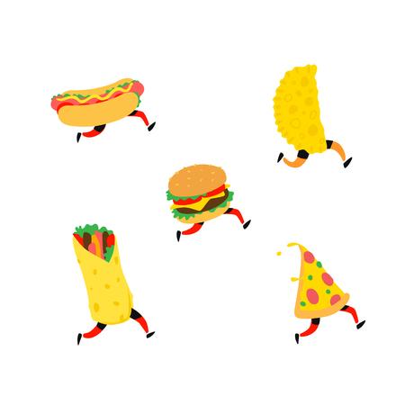 Fast food illustration. Vector. Characters hamburger, pizza, hot dog, shawarma, cheburek. Items for the menu. Tasty food. Stock Illustratie