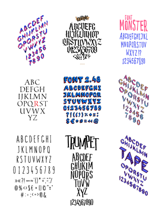 Set of different fashionable fonts. Vector. All letters and somvoly separately. Gothic. Flat and isometric font.