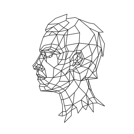 Low poly illustration of a man's head in profile. Vector. Outline drawing. Retro style. Background, symbol, emblem for the interior. Business metaphor.
