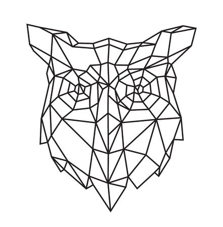 Low poly illustration of an owl head. Vector. Outline drawing. Retro style. Background, symbol, emblem for the interior. Business metaphor. Çizim